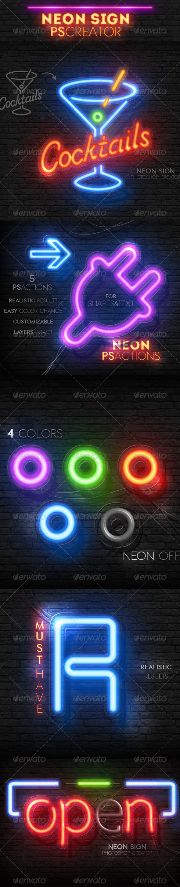 Neon Light Sign Photoshop Actions - Text Effects Actions