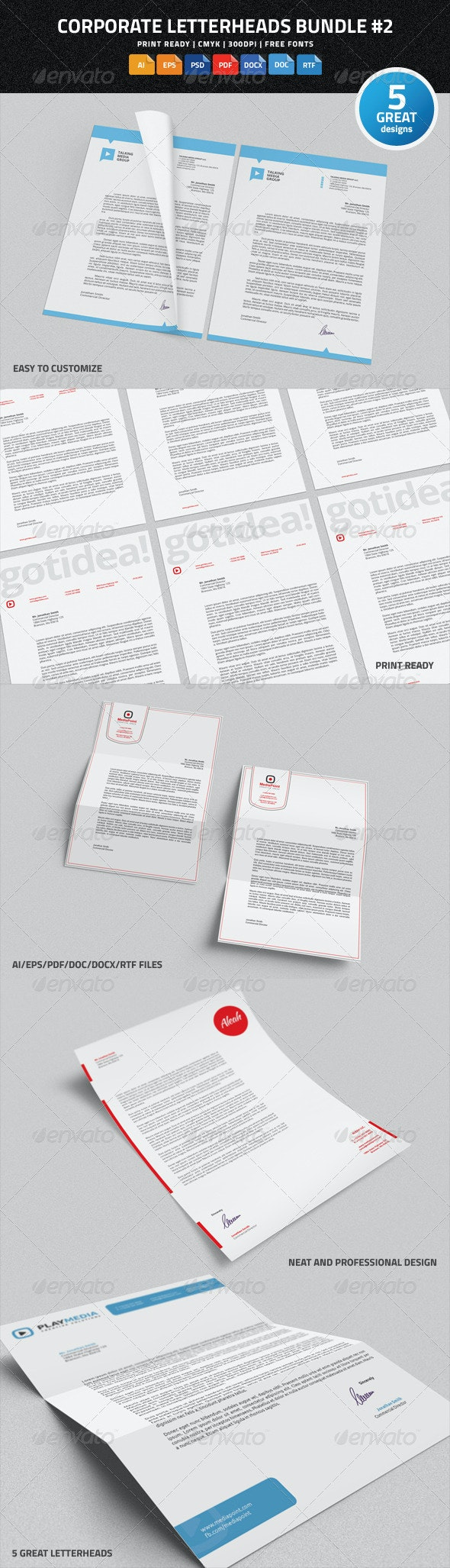 Corporate Letterheads Bundle #2 - Stationery Print Templates