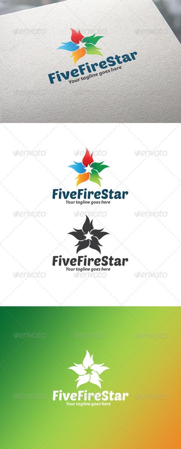 Five Fire Star Logo - Objects Logo Templates