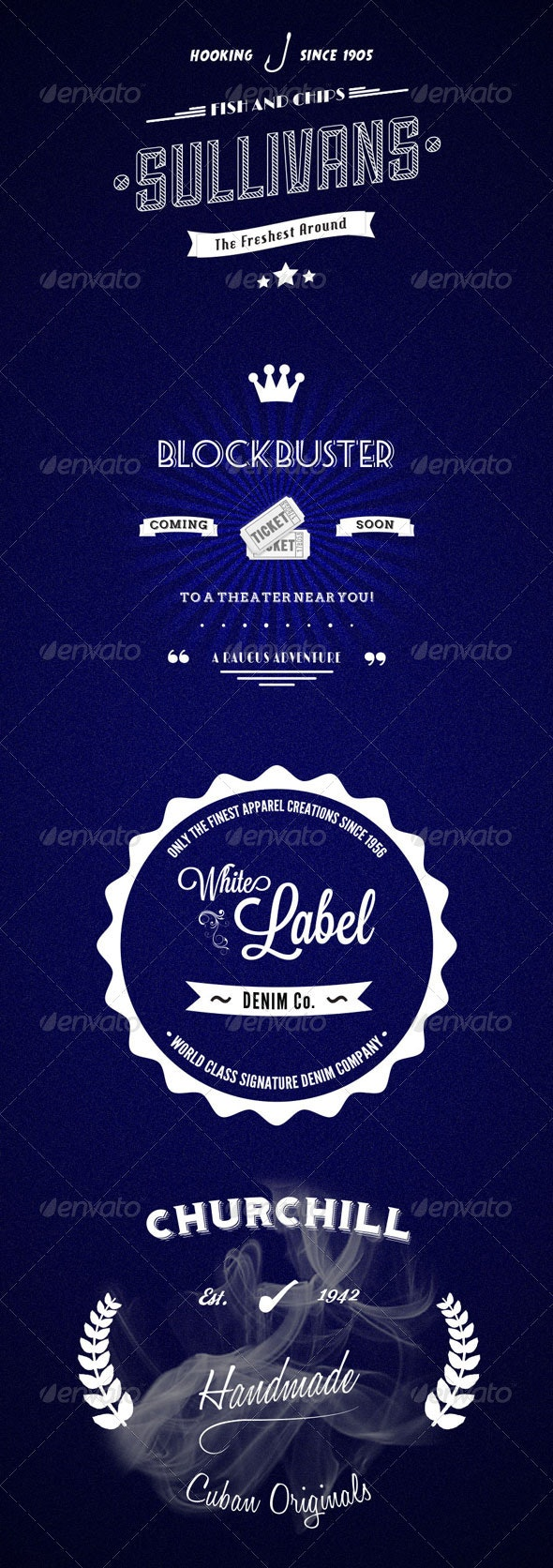Vintage Vector Typography Logos and Badges - Badges & Stickers Web Elements