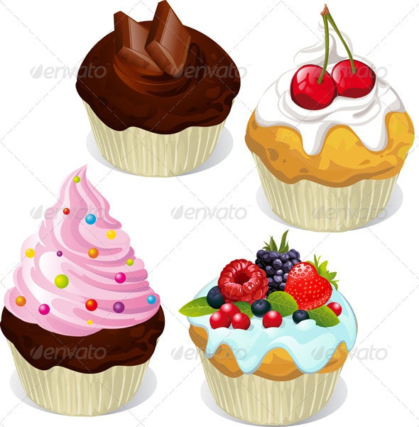 Cupcakes and Muffins Different Flavors and Colors  - Food Objects