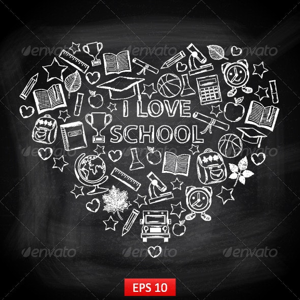 Chalkboard I Love School in the Form of a Heart - Vectors