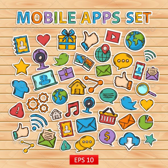 Mobile Apps Scrapbook Sticker Set