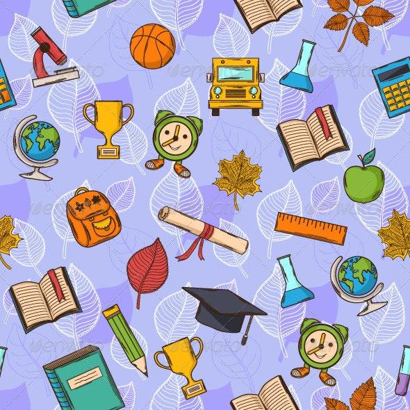 Seamless Pattern Back to School  - Patterns Decorative