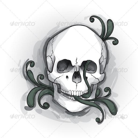 Skull Ornament Hand Drawn - Tattoos Vectors