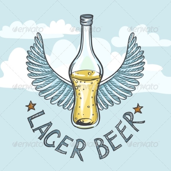 Lager Beer on Sky Background - Decorative Symbols Decorative