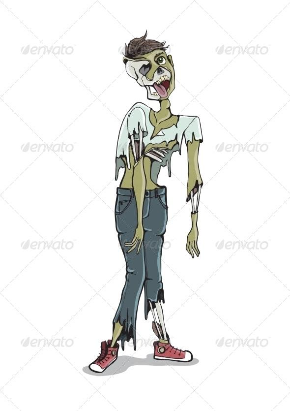 Cartoon Zombie Isolated On White - Halloween Seasons/Holidays