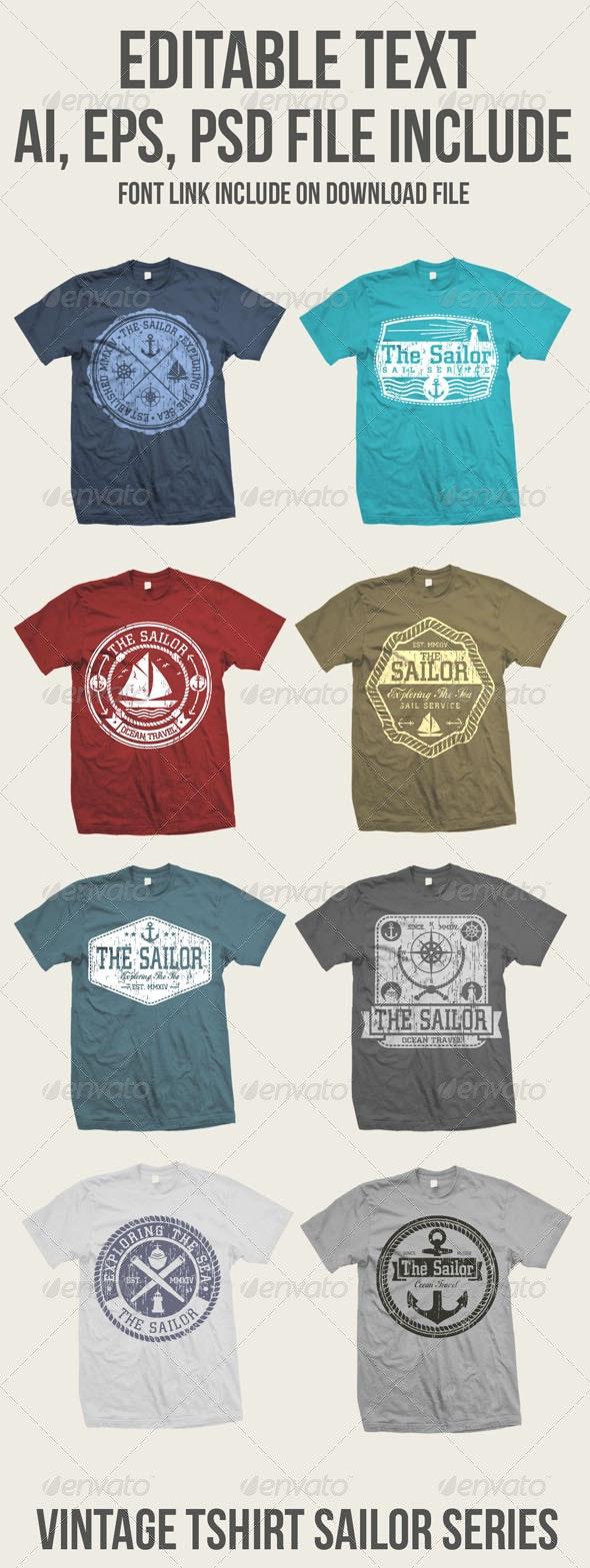 8 Vintage Sailor Tshirt  - T-Shirts