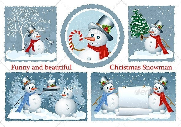 Christmas Frames with Snowmen - Christmas Seasons/Holidays