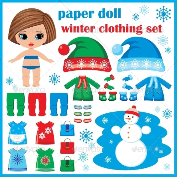 Paper Doll with Winter Clothes Set - Miscellaneous Conceptual