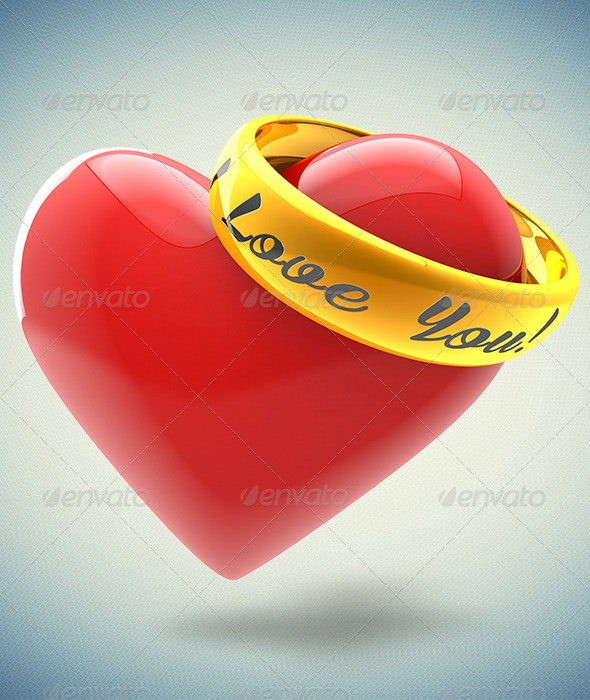 Heart and Ring - Objects 3D Renders