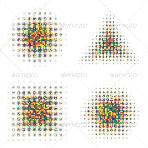 Color Halftone Shapes - Decorative Symbols Decorative