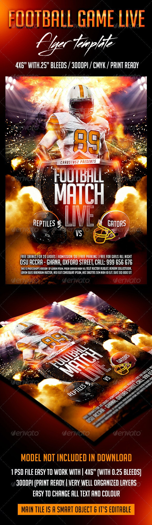Football Game Live Flyer Template - Sports Events