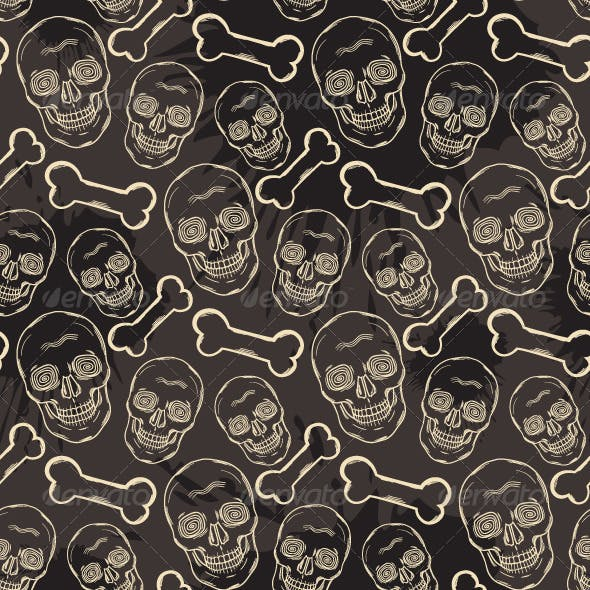 Seamless Pattern with Beige Skulls and Bones