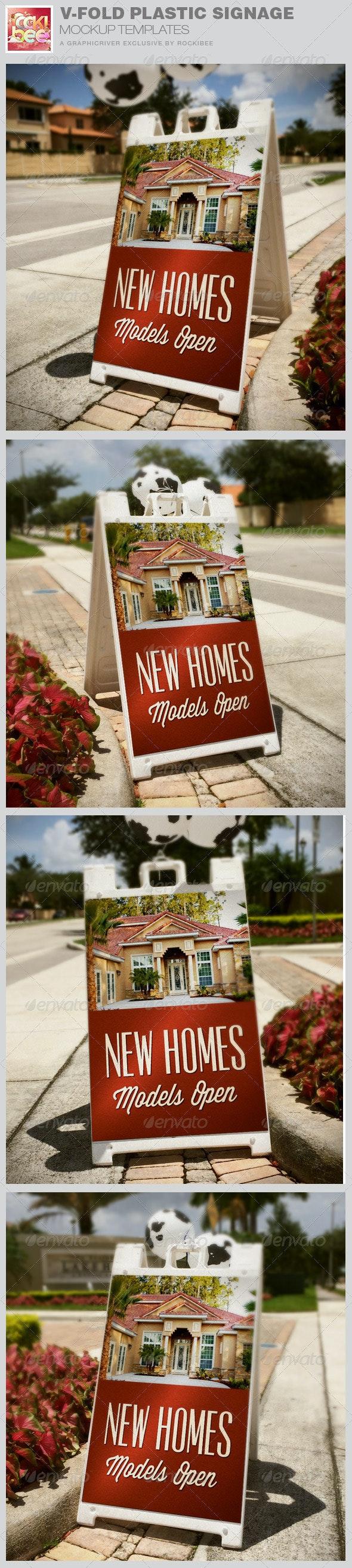 Outdoor V-Fold Plastic Signage Mockup Template - Signage Print