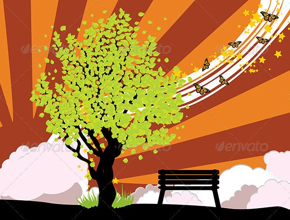 Summer Illustration with Green Tree - Landscapes Nature