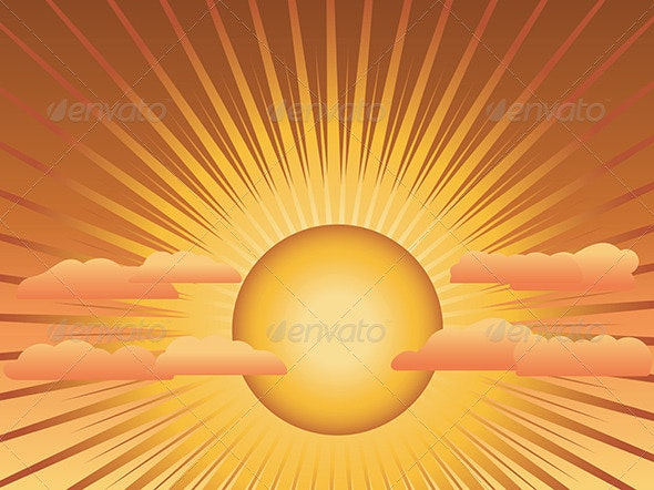 Sun with Rays and Clouds - Landscapes Nature