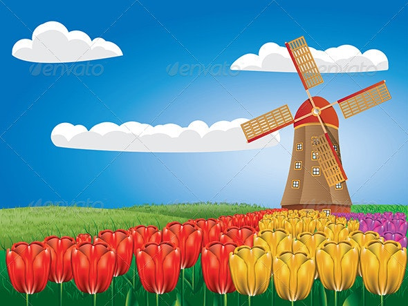 Windmill and Tulips - Buildings Objects