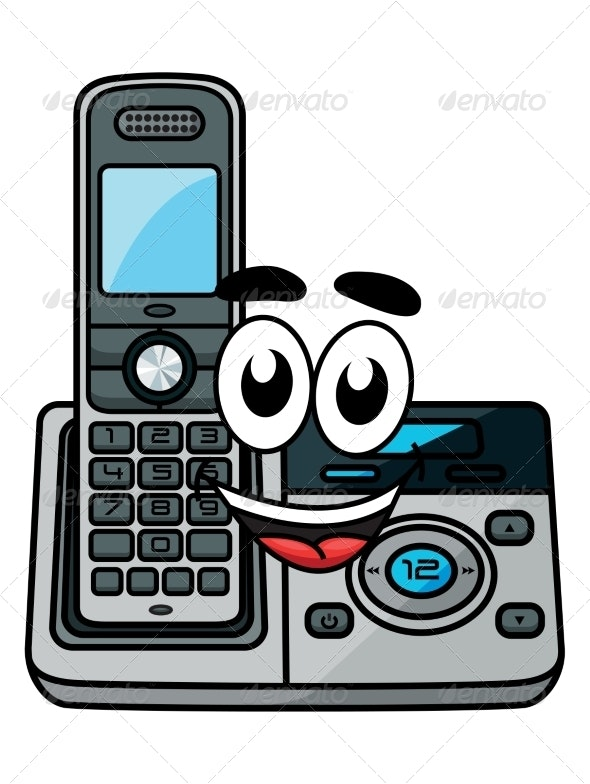 Cartoon Cordless Phone - Communications Technology