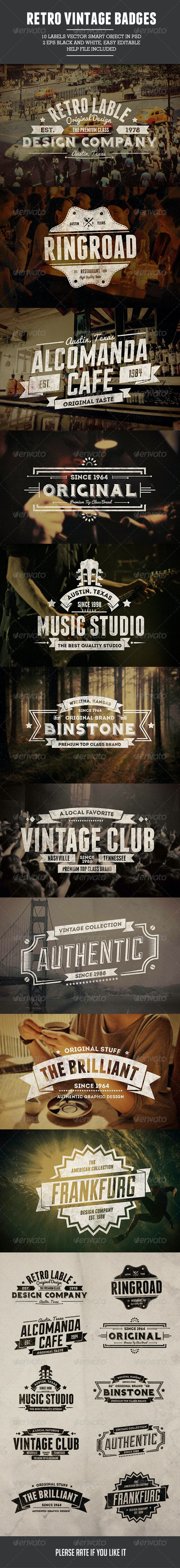 10 Retro Vintage Badges - Badges & Stickers Web Elements