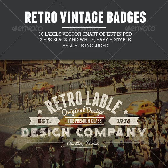 10 Retro Vintage Badges