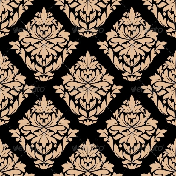 Beige Colored Floral Seamless Pattern - Patterns Decorative