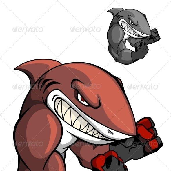 Angry cartoon boxing shark