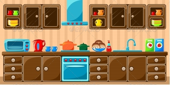 Kitchen Interior.  - Buildings Objects