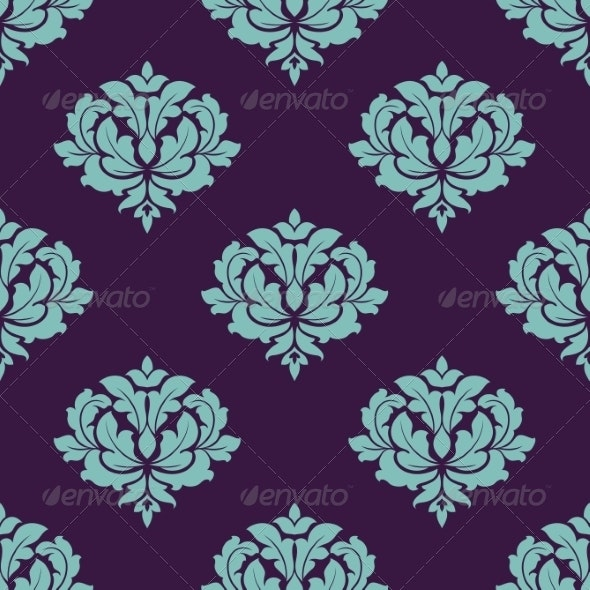 Turquoise Colored Floral Seamless Pattern - Patterns Decorative