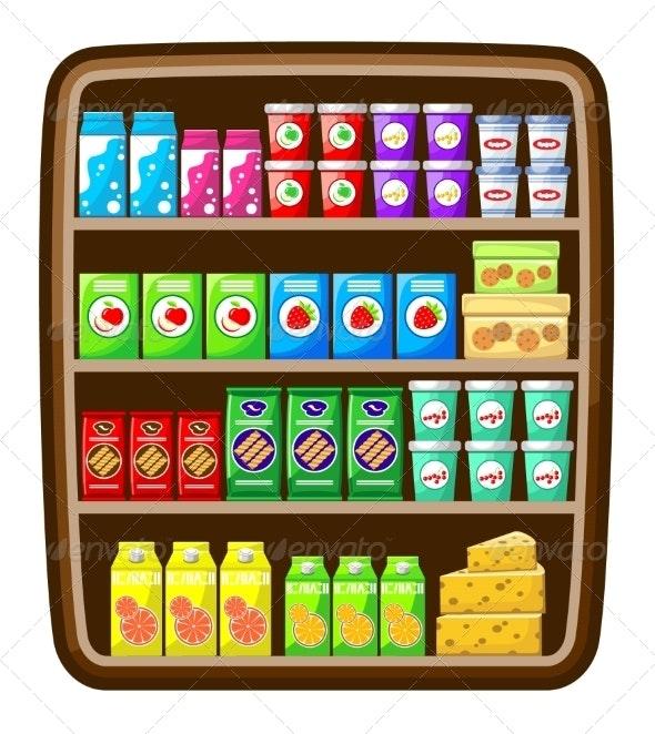 Supermarket. Shelfs with Food. - Food Objects