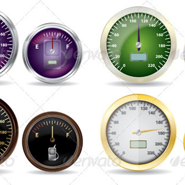 Set of Vector Speedometer and Fuel Icon