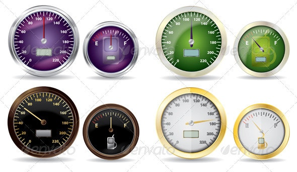 Set of Vector Speedometer and Fuel Icon - Technology Conceptual