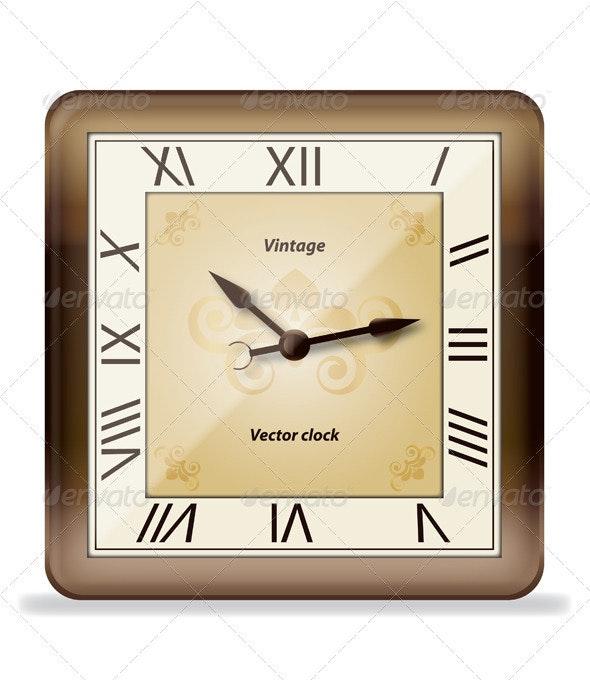Vintage Vector Wall Clock - Objects Vectors