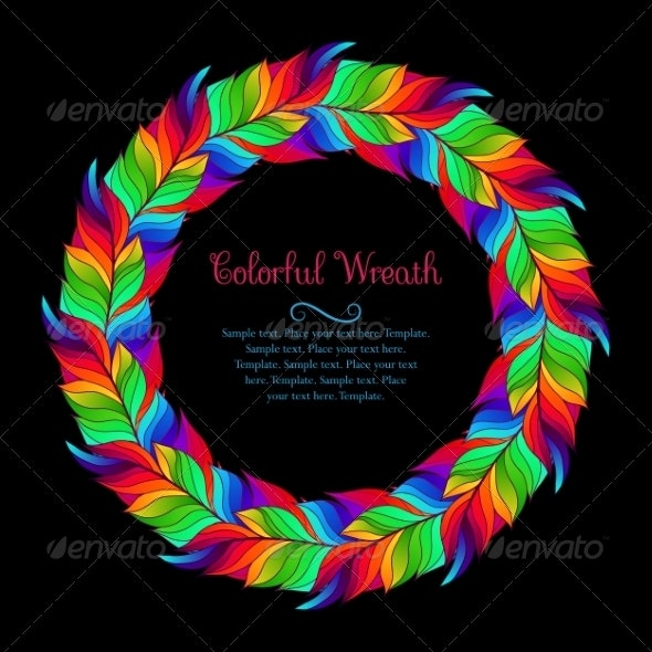 Colorful Wreath of Rainbow Feathers - Backgrounds Decorative