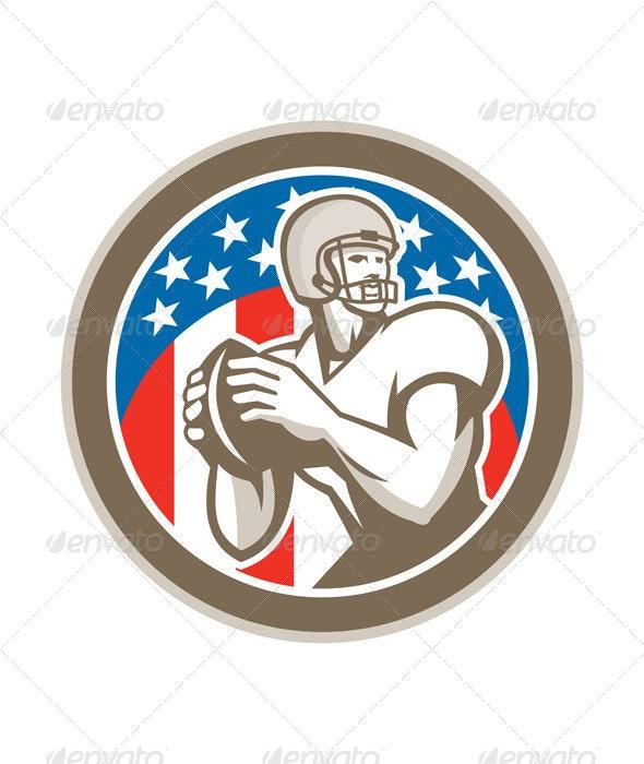American Football Quarterback QB Circle Retro - Sports/Activity Conceptual