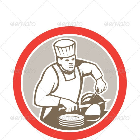 Chef Cook Slicing Meat Circle Retro