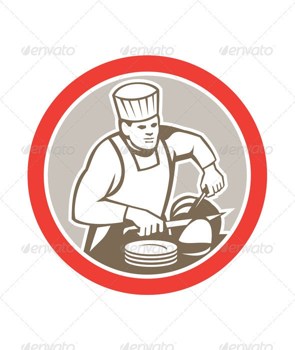 Chef Cook Slicing Meat Circle Retro - People Characters