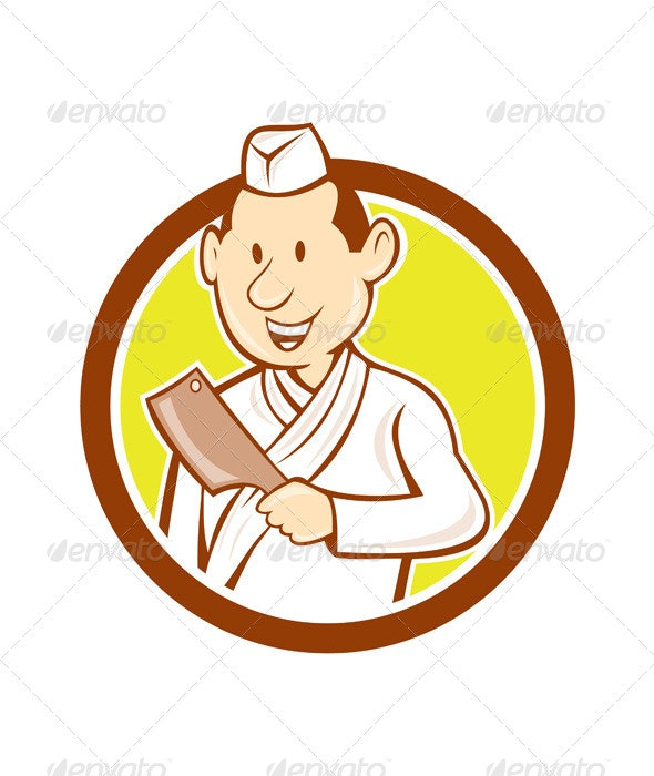 Japanese Chef with Meat Cleaver Circle Cartoon - People Characters