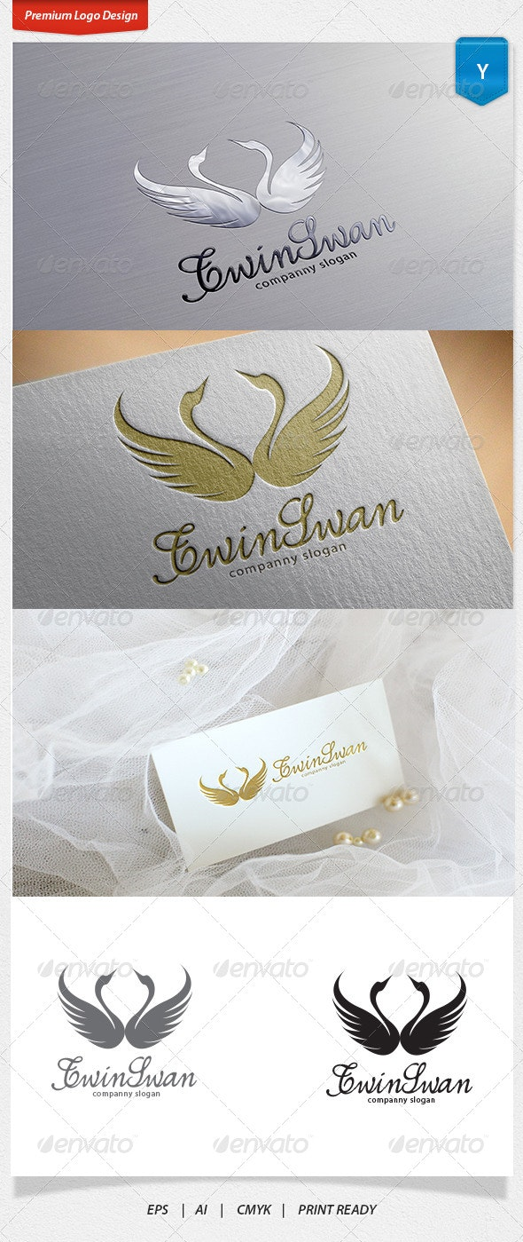 Twin Swan Logo - Animals Logo Templates