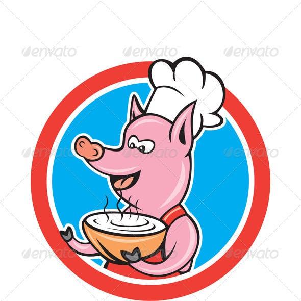 Pig Chef Holding Bowl Circle Cartoon