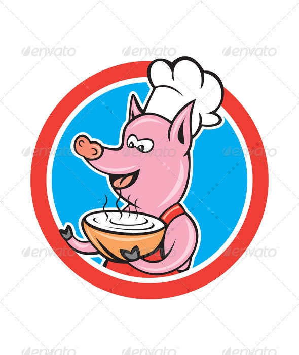 Pig Chef Holding Bowl Circle Cartoon - Animals Characters
