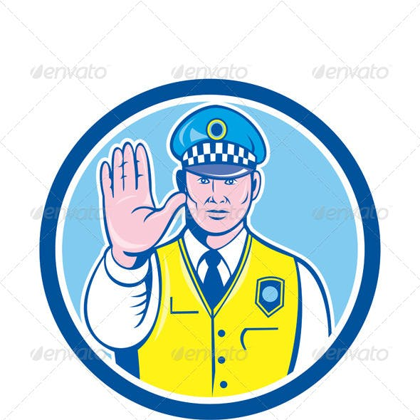 Policeman with Stop Hand Sign