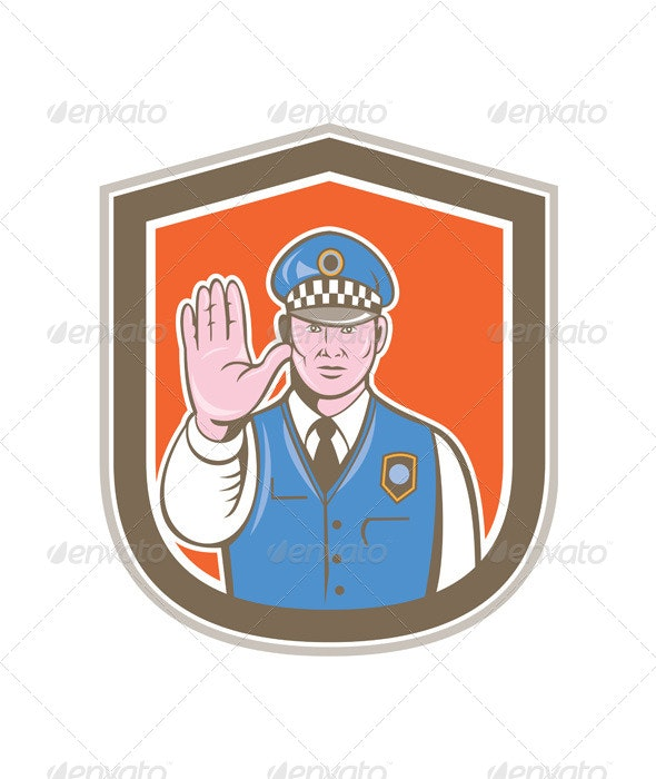 Traffic Policeman Hand Stop Sign Shield Cartoon - People Characters