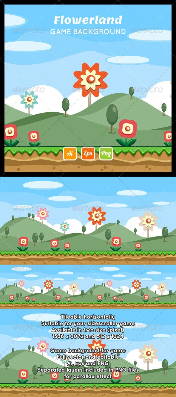 Flowerland Game Background - Backgrounds Decorative