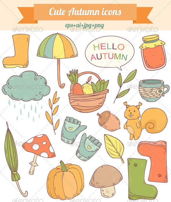 Autumn Icons - Objects Vectors