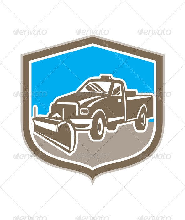 Snow Plow Truck Shield Retro - Travel Conceptual