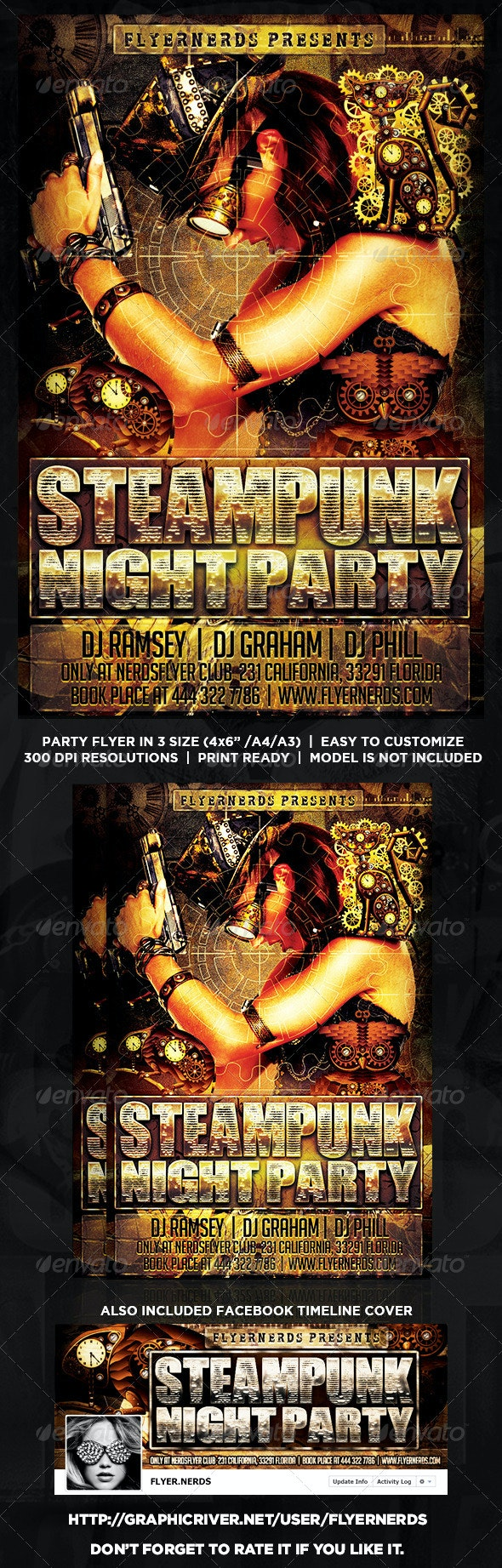 Steampunk Party Flyer - Clubs & Parties Events