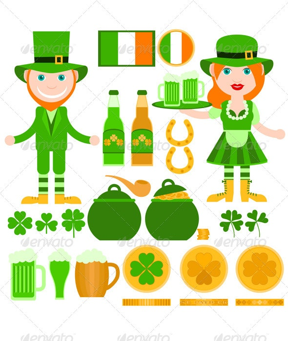 Set of Saint Patrick's Day Related Elements - Seasons/Holidays Conceptual