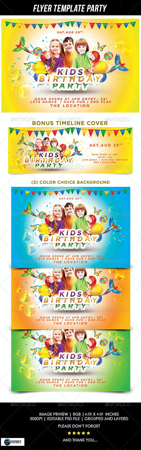 Kids Birthday Party  - Events Flyers