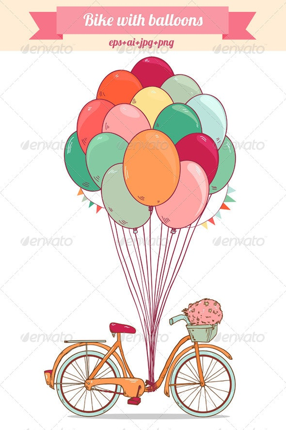 Bike with Bright Balloons - Miscellaneous Characters